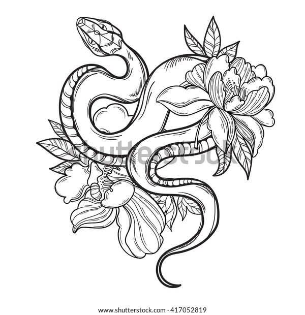 Contour Snake Flowers Tattoo Art Coloring Stock Vector