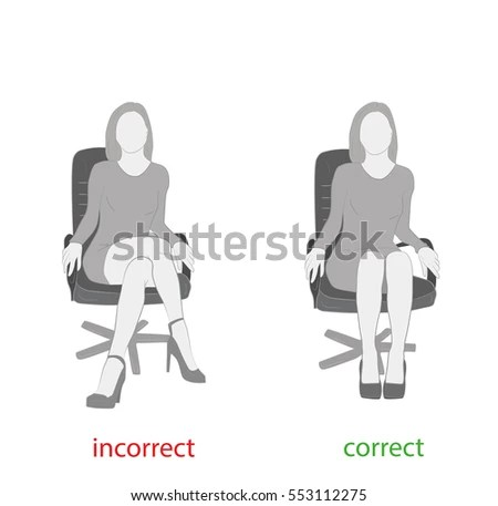 posture chair sitting country tables and chairs correct incorrect on stock vector royalty a medical advice illustration