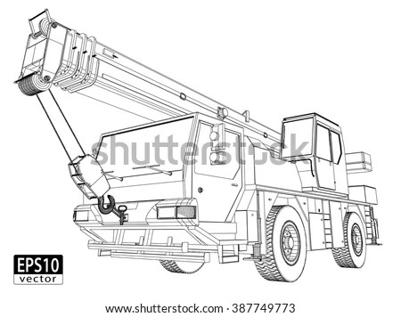 Crane Truck Wireframe EPS 10 Vector Stock Vector (Royalty