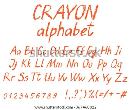 Crayon Childs Drawing Alphabet Pastel Chalk Stock Vector Royalty