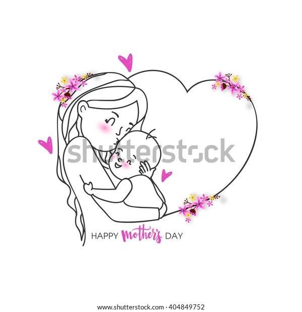 Creative Illustration Woman Loving Her Cute Stock Vector