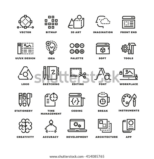 Creative Process Tools Line Icons Set Stock Vector