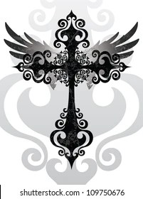 Cross With Angels Wings : cross, angels, wings, Cross, Angel, Wings, Stock, Images, Shutterstock