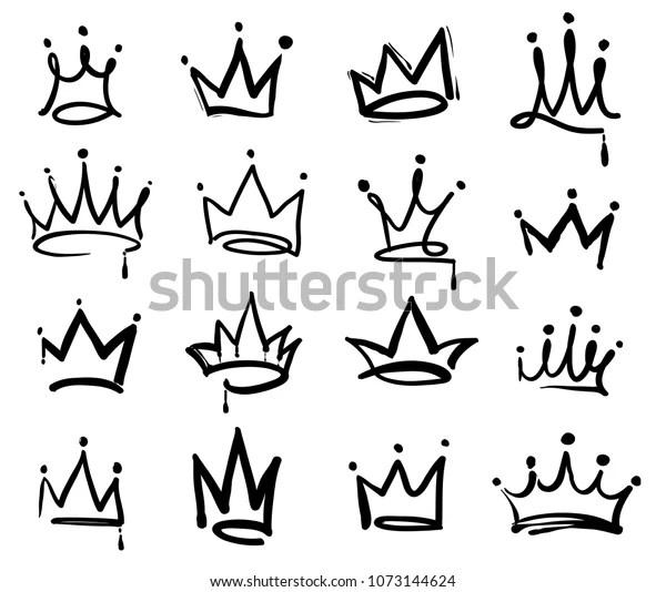 Crown Logo Graffiti Icon Black Elements Stock Vector
