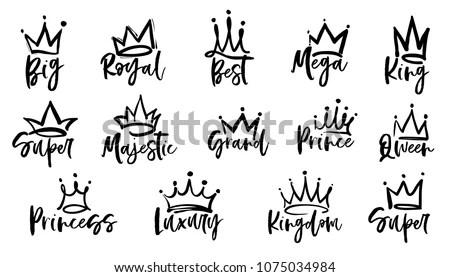 Crown Logo Graffiti Icon Queen King Stock Vector (Royalty