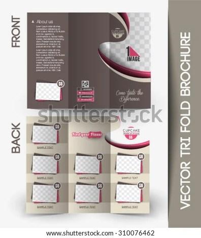 Cupcake Shop Tri Fold Mock Brochure Design Stock Vector Royalty