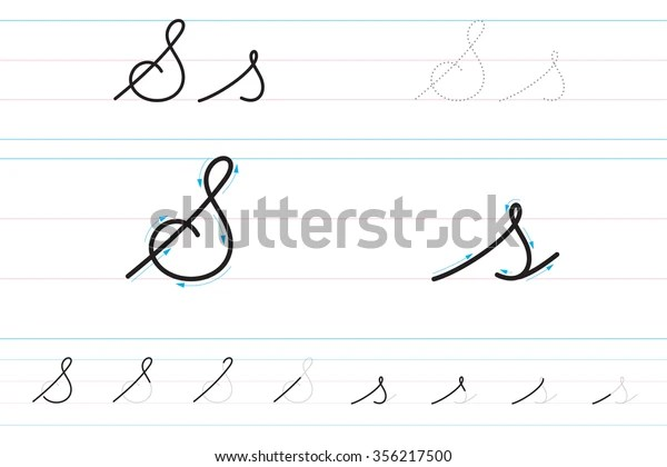 Cursive Letters Learning Write Ss Stock Vector (Royalty