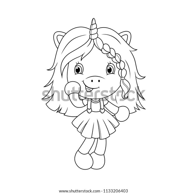 Cute Baby Unicorn Coloring Page Girls Stock Vector Royalty Free 1133206403