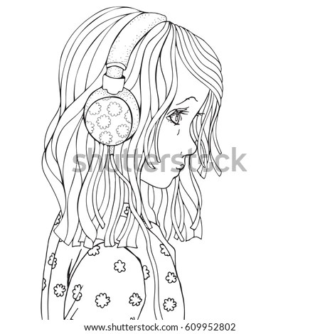 Cute Beautiful Girl Headphones Coloring Book Stock Vector