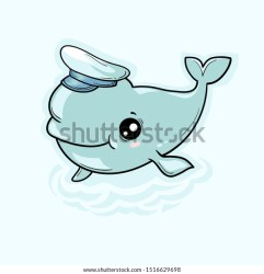 Cute Beluga Whale On Background Waves Stock Vector Royalty Free 1516629698