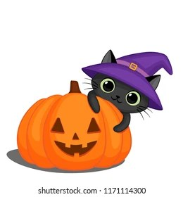 Cute Black Cat Witch Hat Behind Stock Vector Royalty Free 1171114300
