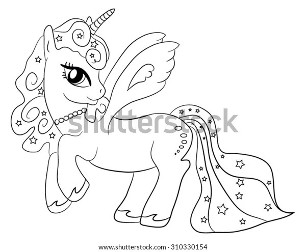 Cute Cartoon Fairytale Unicorn Coloring Page Stock Vector