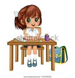 Cute Cartoon Girl Sitting Desk Different Stock Vector Royalty Free 1141640246