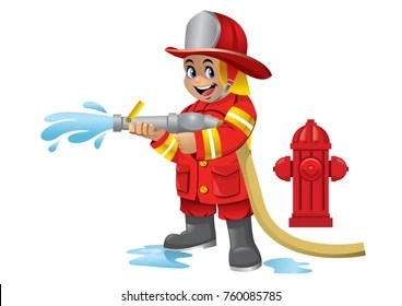 firefighter cartoon images stock