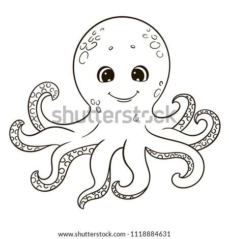 Cute Cartoon Octopus Coloring Book Stock Vector (Royalty