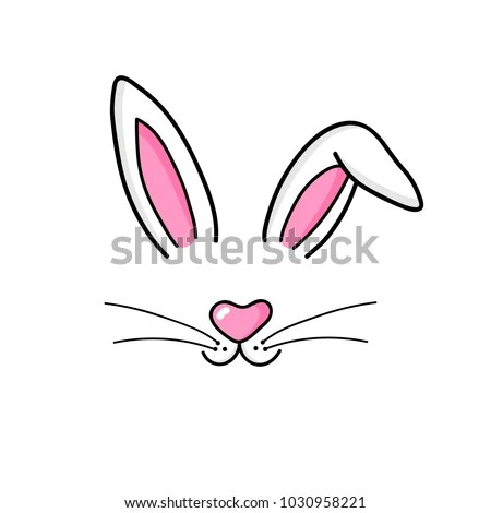 Cute Easter Bunny Vector Illustration Hand Stock