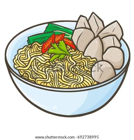 Cute Funny Indonesian Cuisine Mie Bakso Stock Vector