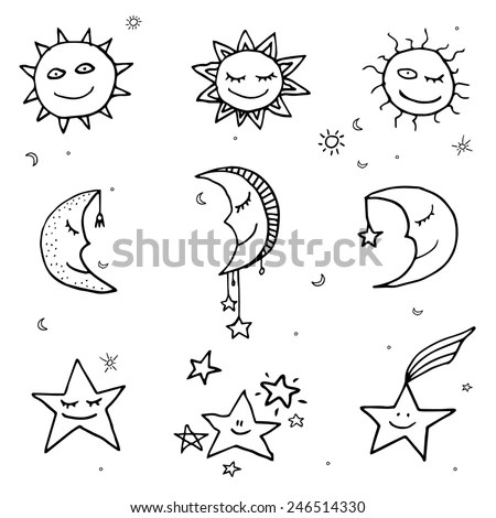Cute Funny Sun Moon Stars Doodle Stock Vector (Royalty