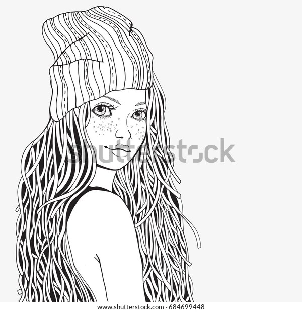 Cute Girl Coloring Book Page Adult Stock Vector (Royalty