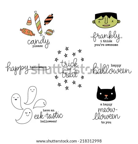 Cute Hand Lettered Punny Halloween Phrases Stock Vector
