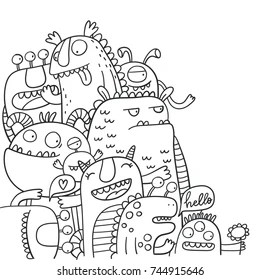 cute monster coloring pages # 10