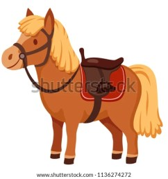 cute pony in harness with saddle cartoon vector illustration [ 1000 x 888 Pixel ]