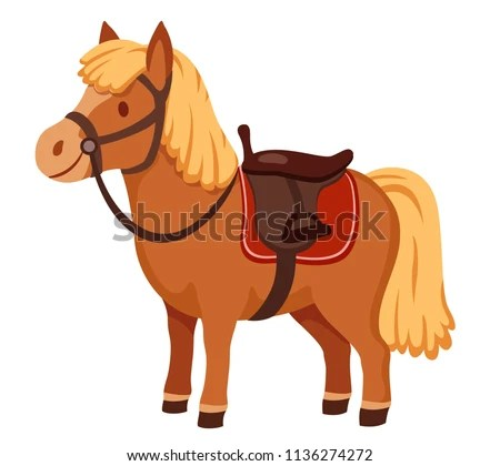 hight resolution of cute pony in harness with saddle cartoon vector illustration