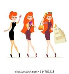 Stylish Woman Cartoon Shopping Images Stock Photos & Vectors Shutterstock