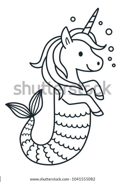 Cute Unicorn Mermaid Vector Coloring Page Stock Vector