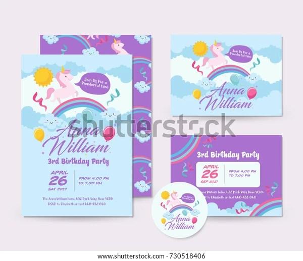 https www shutterstock com image vector cute unicorn theme happy birthday invitation 730518406