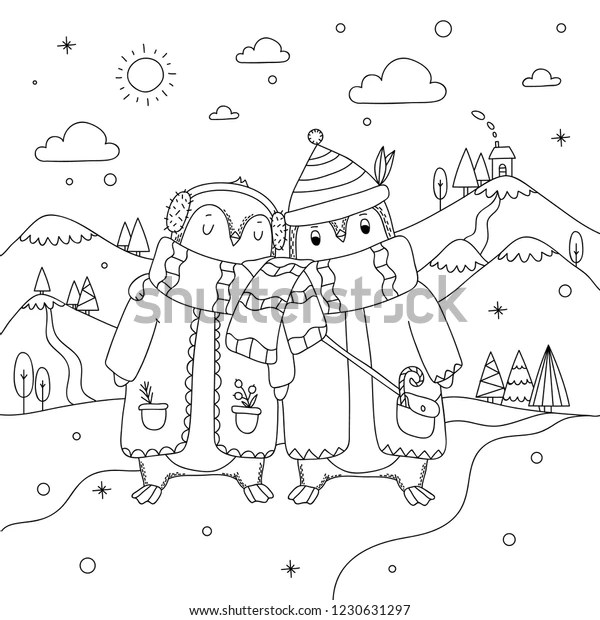 Cute Winter Penguin Couple On North Stock Vector (Royalty