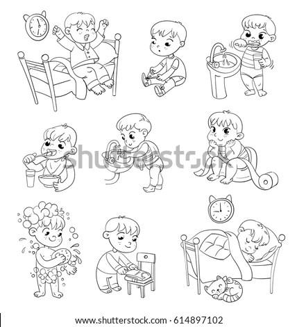 Daily Routine Activities Baby Sitting Childrens Stock