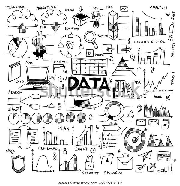 Data Doodle Icon Vector Set Stock Vector (Royalty Free