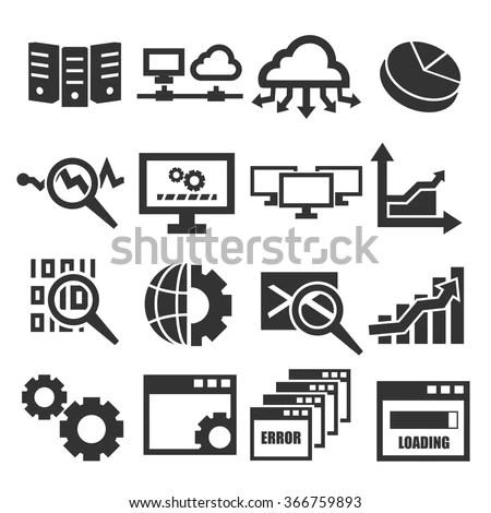 Database Management System Icon Set Image vectorielle de