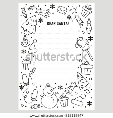 Dear Santa Letter Coloring Page Stock Vector (Royalty Free