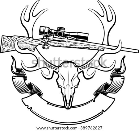 Deer Skull Trophy Hunting Rifle Banner Stock Vector