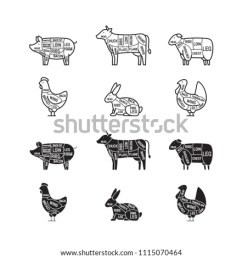 diagrams for butcher shop meat cuts animal silhouette pig cow lamb [ 1000 x 1000 Pixel ]