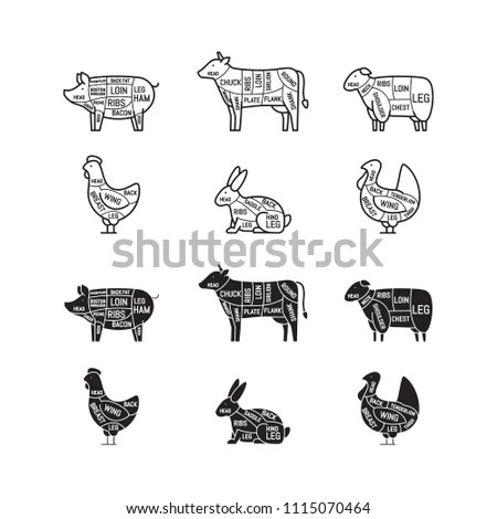 medium resolution of diagrams for butcher shop meat cuts animal silhouette pig cow lamb