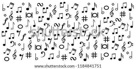 Different Musical Symbol Music Note Background Stock