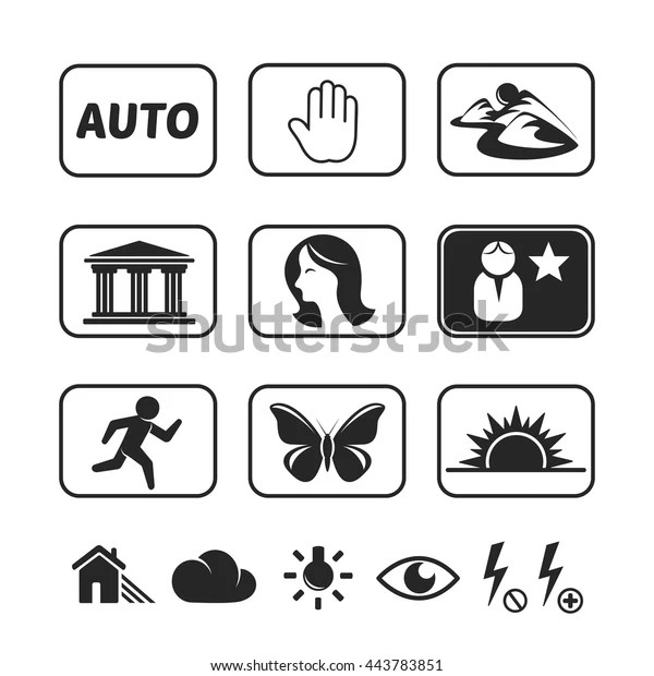 Digital Camera Modes Icons Set Stock Vector (Royalty Free