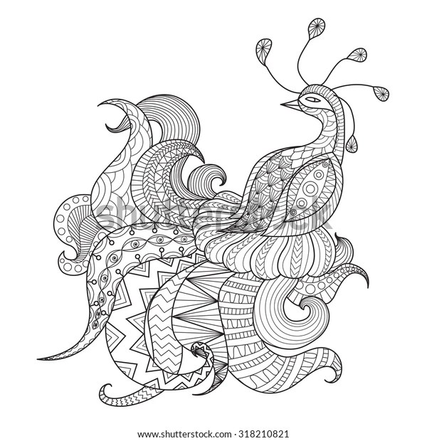 Digital Drawing Zentangle Peacock Coloring Booktattooshirt