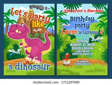 https www shutterstock com image vector dino party invitation template decorations vector 1711207000