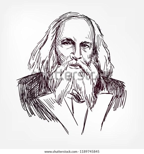 Dmitri Ivanovich Mendeleev Vector Sketch Illustration