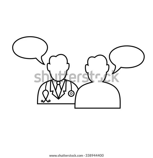 Doctor Patient Dialog Icon Vectoroutline Stock Vector