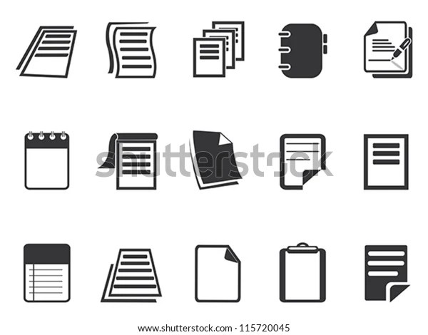 Documents Icons Set Stock Vector (Royalty Free) 115720045