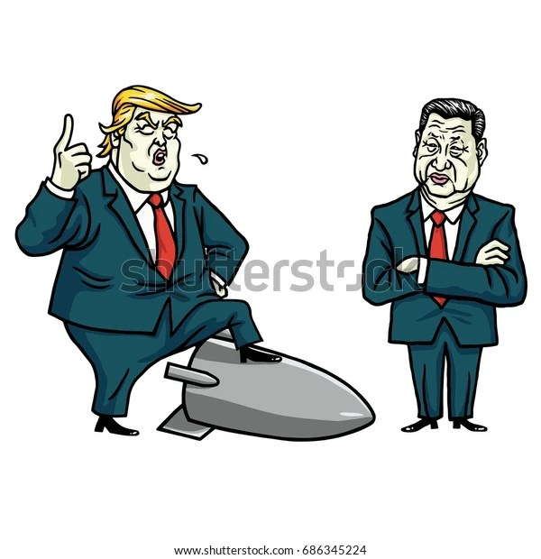 Donald Trump and Xi Jinping Cartoon Vector Illustration. July 29, 2017