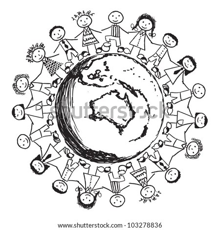 Doodle Children Around World Australia Stock Vector