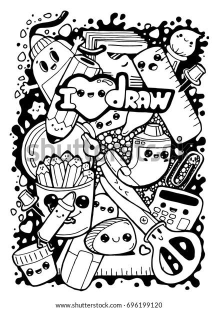 Doodle Funny Kawaii Cartoon Caharacters Stationery Stock Vector (Royalty Free) 696199120