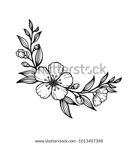 Doodle Hand Draw Flowers Decoration Coloring Stock Vector