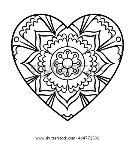 Doodle Heart Mandala Coloring Page Outline Stock Vector